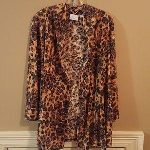 Multi-colored leopard print open cardigan